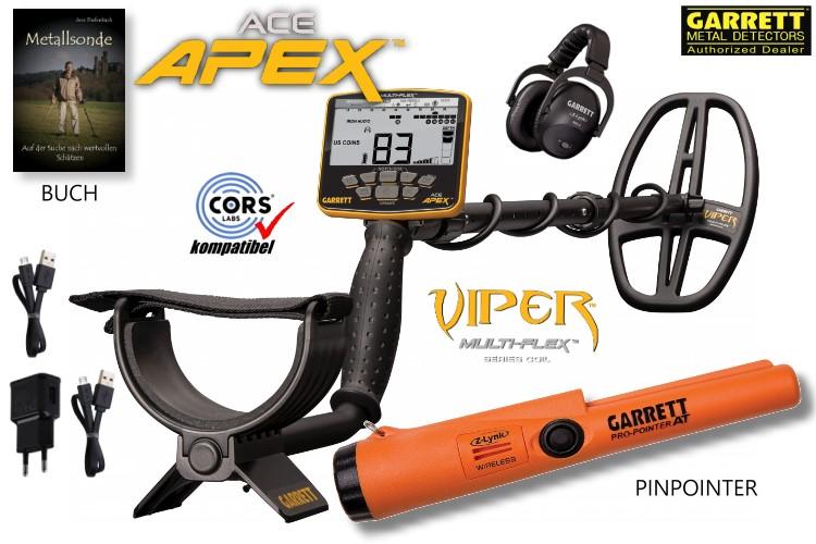 Garrett ACE APEX Metalldetektor mit Funkkopfhörer und Pinpointer